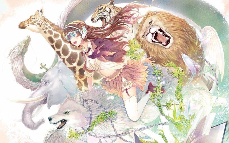 Anime Girl Wolf Lion Elephant Dragon Animals Flowers wallpaper