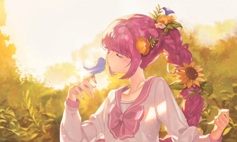 Anime Girl Pink Hair Braid Bird Flowers Sunlight Closed Eyes wallpaper
