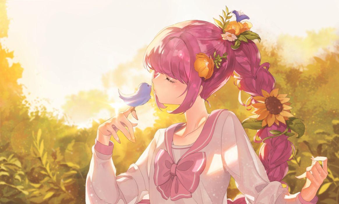 anime girl pink hair braid bird flowers sunlight closed eyes