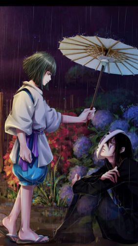 anime rain love umbrella girl dress long hair original beautiful wallpaper