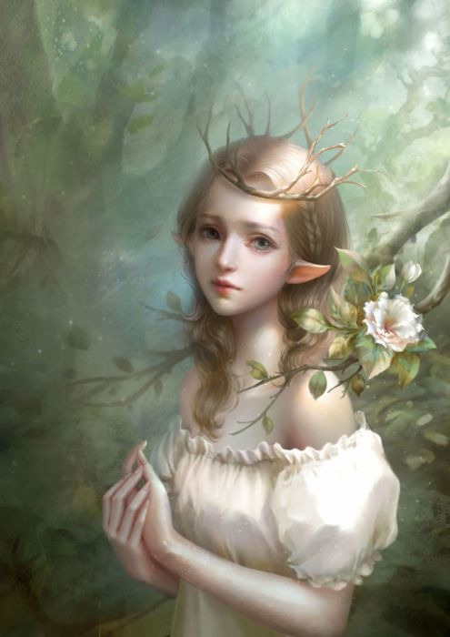 lia-cao art fantasy girl fairy flower forest beauty wallpaper