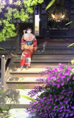 anime girl summer cat origial kimono flower wallpaper