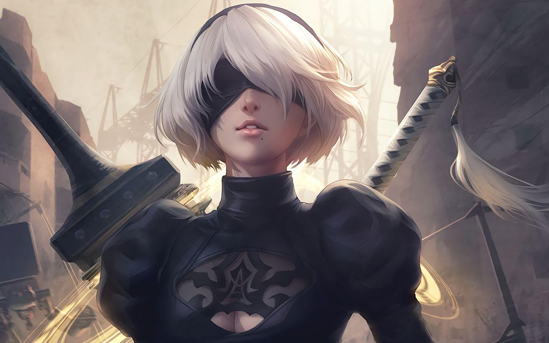 nier automata yorha 2b eyepatch swords white hair wallpaper