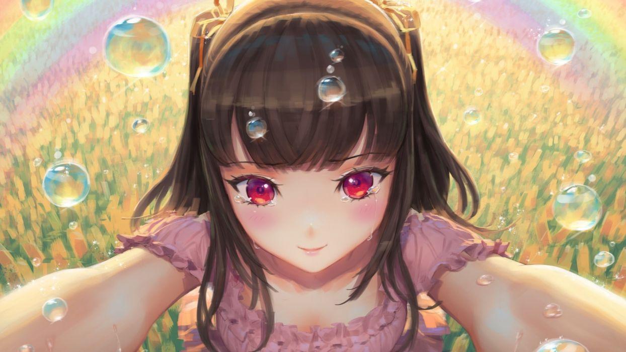 Anime Girl Crying Happy Tears Red Eyes original anime girl wallpaper