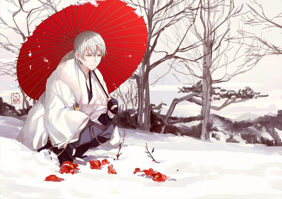 touken ranbu tsurumaru kuninaga traditional clothes white hair original anime girl wallpaper