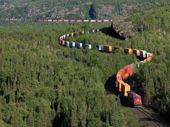 tren mas largo mundo canada bosque wallpaper
