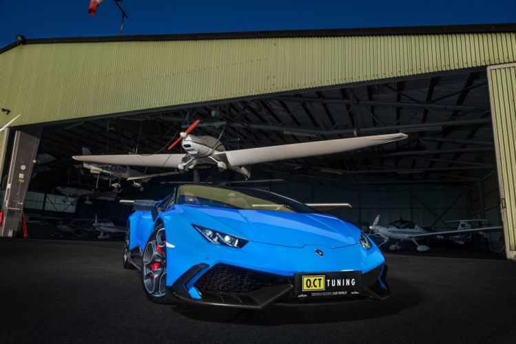 OCT Tuning Supercharged Lamborghini Huracan spider cars blue modified wallpaper