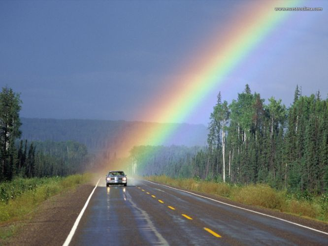 arco iris carretera wallpaper