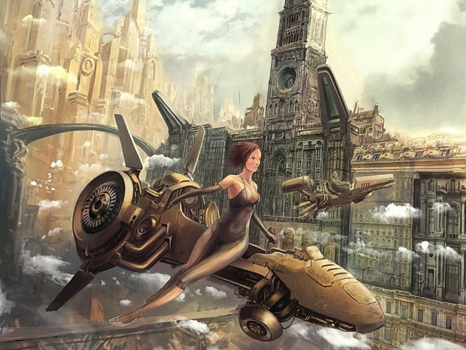 abstracto sci-fi mujer maquina futuro wallpaper