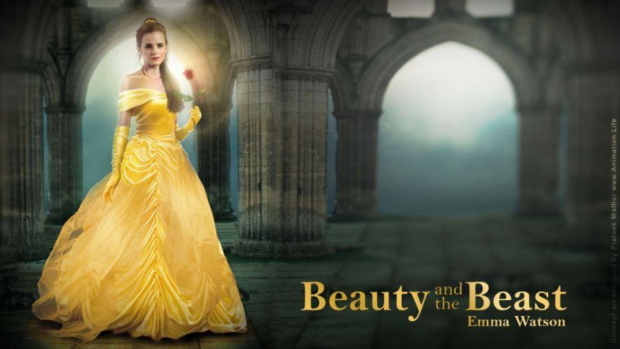la bella y la bestia pelicula fantasia emma watson wallpaper