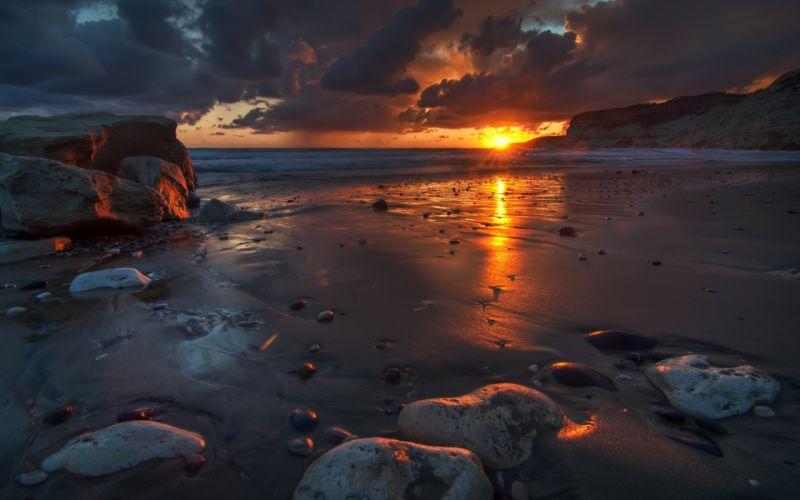 Sunset Ocean Beach Rocks Reflection Horizon wallpaper