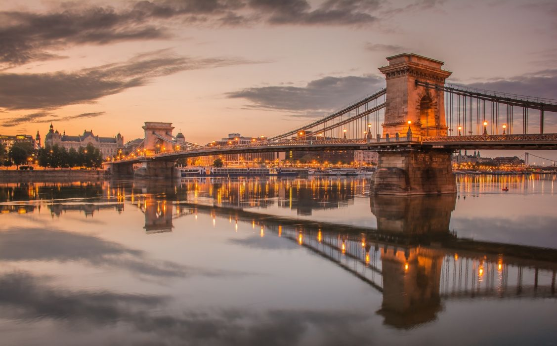 Hungary Budapest River Bridge Lights Reflection Architecture wallpaper
