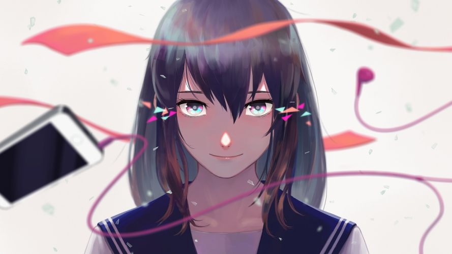 Anime Girl Short Hair Brown Hair Face Portrait School Uniform wallpaper