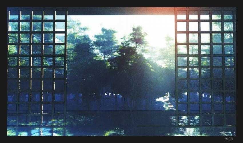 Anime Landscape Scenic Forest Trees River Reflection Sunshine wallpaper