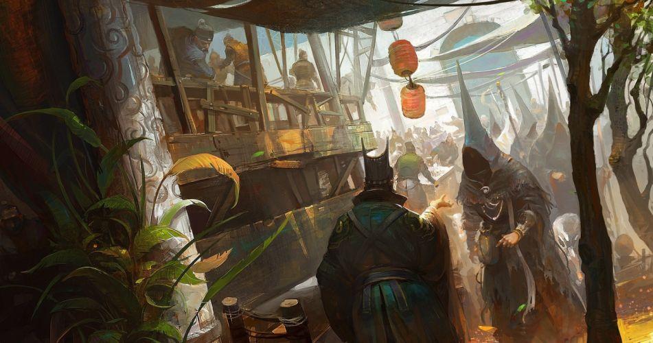 Asian Culture Bazaar Painting wallpaper