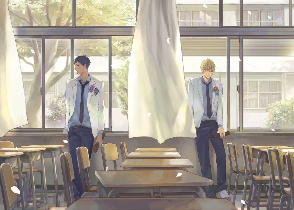Kuroko No Basket Aomine Daiki Kise Ryouta Shoujo Classroom Petals wallpaper