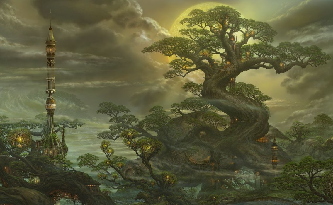 Fantasy Landscape Big Old Tree Moon Clouds Tower Lamp wallpaper