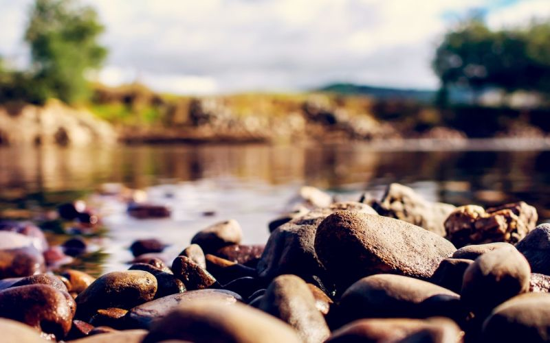 Stones Water Blurred Close-up River wallpaper