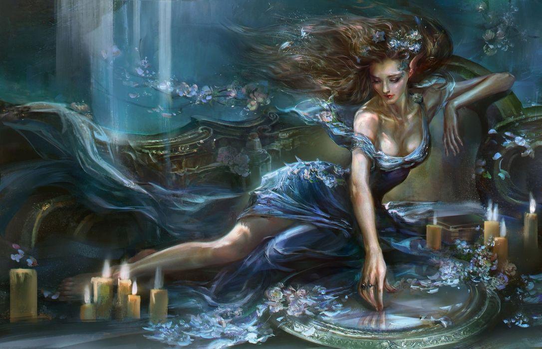Fantasy Girl Mirror Dress Candles Elf Ears wallpaper