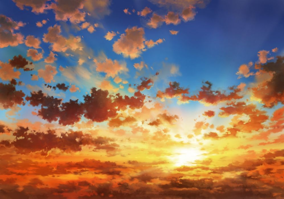 anime landscape sunset clouds sky wallpaper 1781x1250 1079244 wallpaperup anime landscape sunset clouds sky