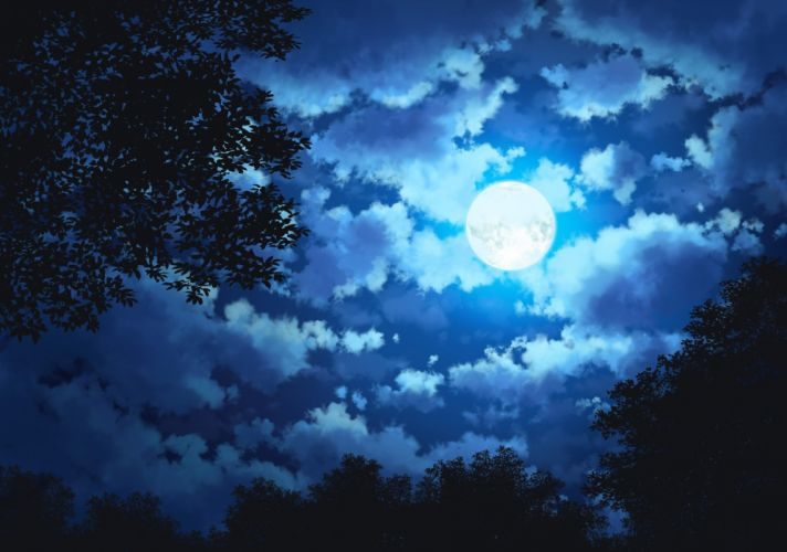 Anime Landscape Night Moon Clouds Trees Sky wallpaper