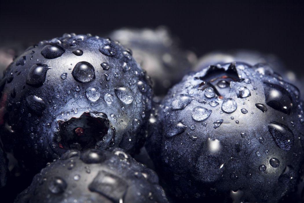 Blueberries Macro Water Drops Fruits wallpaper