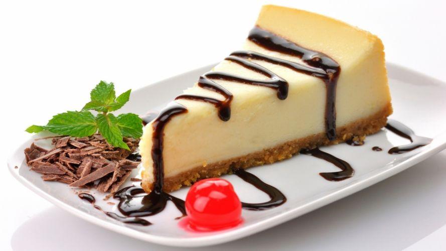 Cheesecake Berry Chocolate Sauce Dessert wallpaper