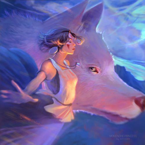 Mononoke Hime San Moro Princess Mononoke Wolf Artwork wallpaper