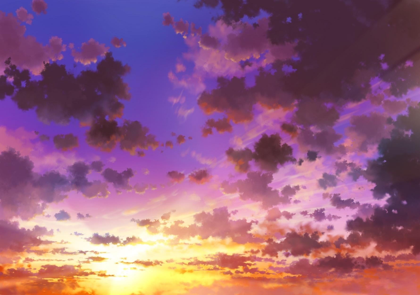 Anime Sky Sunset Clouds wallpaper | 1781x1250 | 1079265 ...