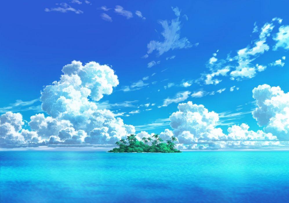 Anime Island Ocean Clouds Sky Wallpaper