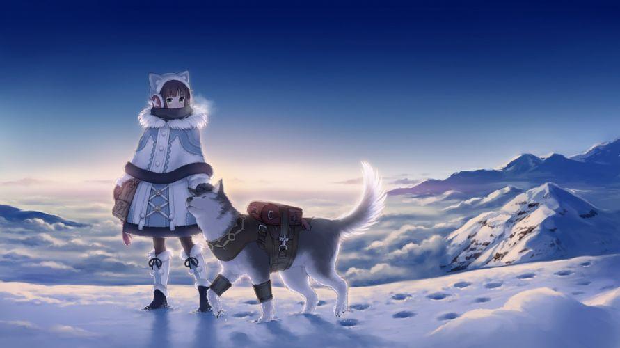 Anime Girl Winter Wolf Snow Landscape Clean Sky wallpaper