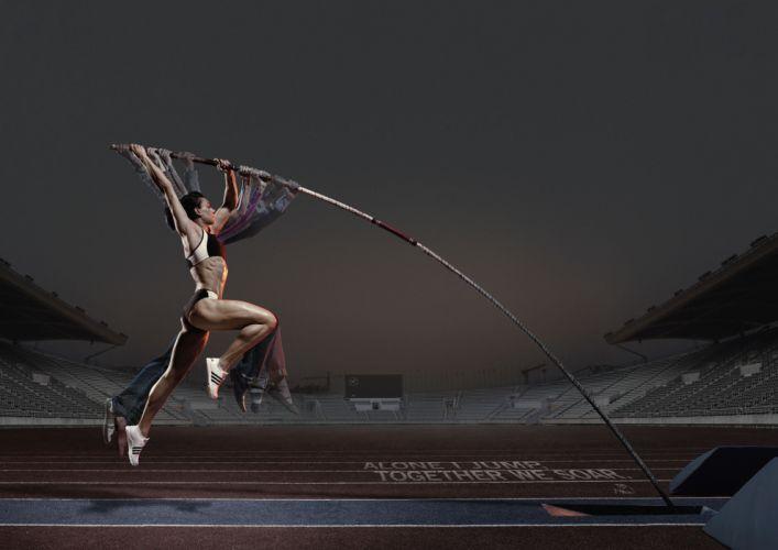 WOMEN & SPORTS girl-fitness-body-training-ball-sexy-female-athlete-pole vault wallpaper