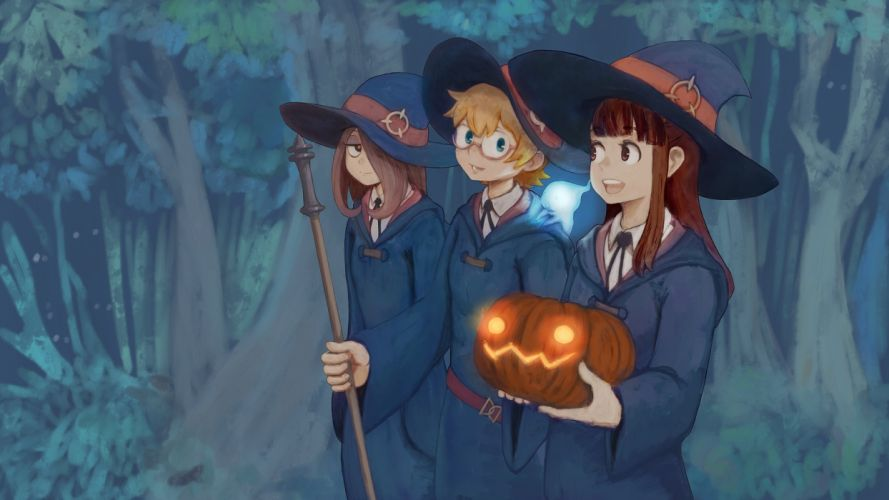 Little Witch Academia Akko Lotte and Sucy Pumpkin wallpaper