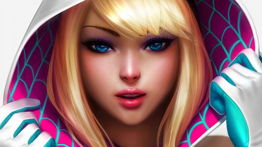 fantasy blonde blue eyes Spider-Gwen Marvel Girl Art wallpaper