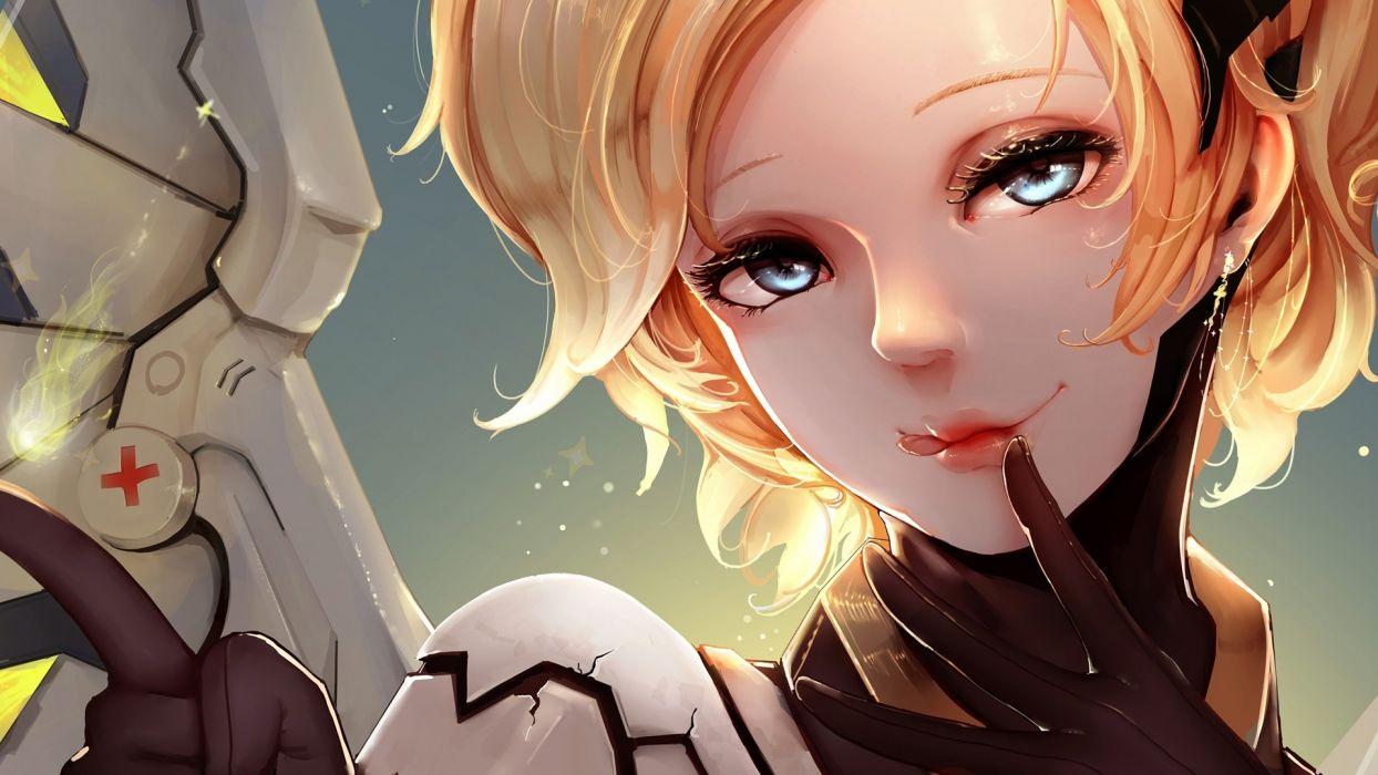 Mercy Overwatch Game Girl Art blonde girl wallpaper