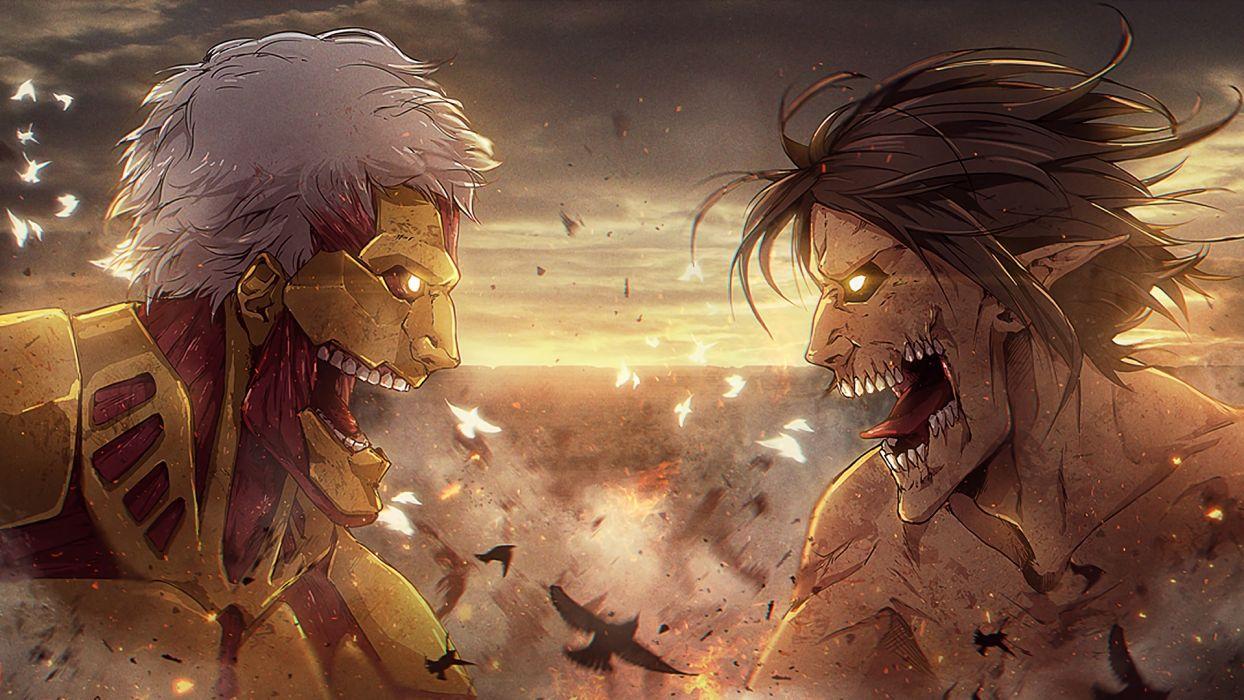 Amored Titan Vs Attack Titan Aot Anime Wallpaper 1920x1080 1079477 Wallpaperup