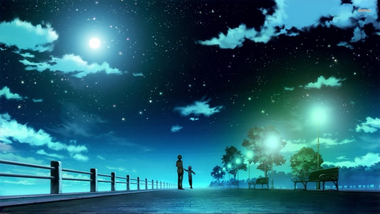 anime beautiful night blue clouds with lightning tree wallpaper