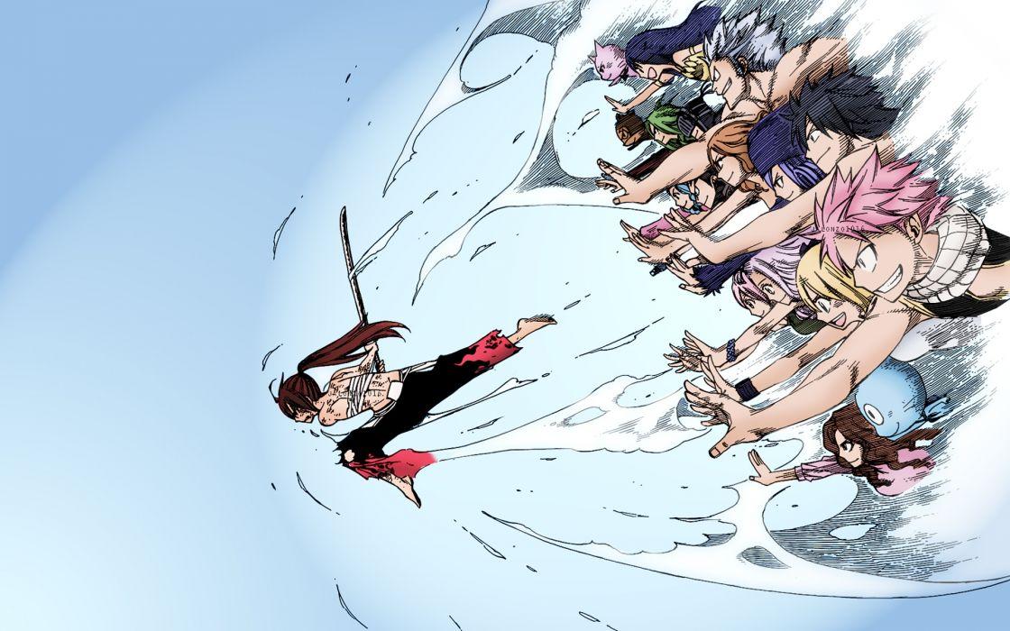 anime series and happy and natsu chibi erza wallpaper