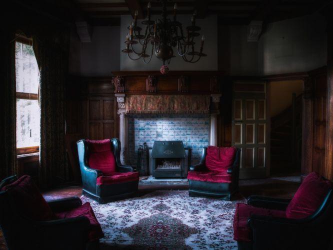 interior salon comedor chimenea wallpaper