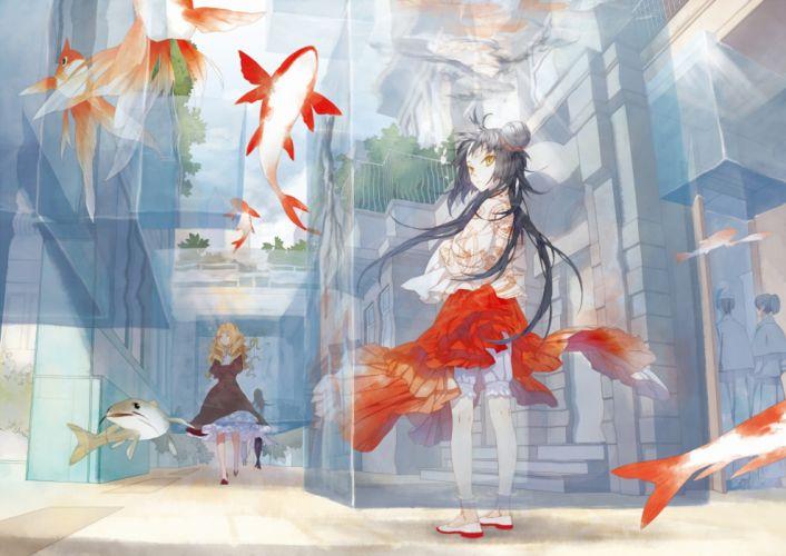 original anime girls fish cute wallpaper