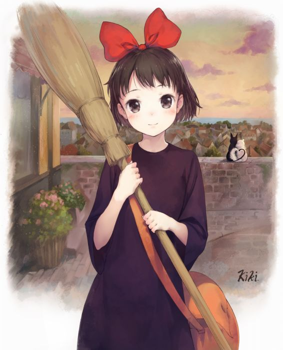 original anime series girl witch cats wallpaper