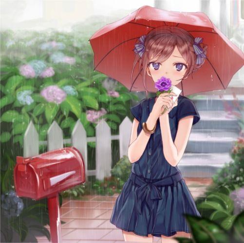 original anime girl cute flower rain dress umbrella wallpaper