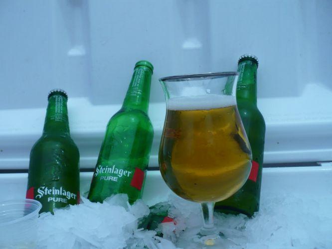 Steinlager botellines copa cerveza hielo wallpaper