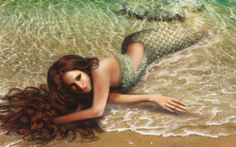 fantasy fantastic girl beauty beautiful mermaid beach sea wallpaper