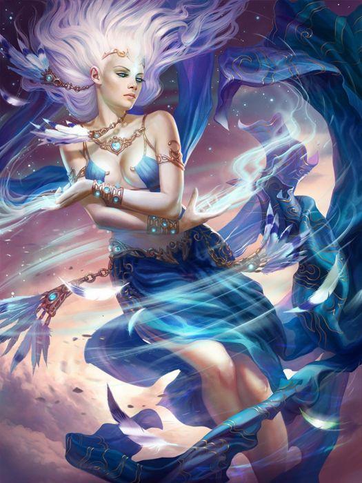 fantasy girl beautiful long hair magic dress wallpaper