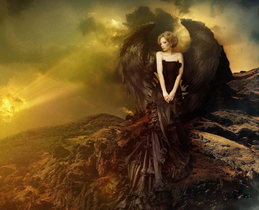 fantasy girl woman beautiful long hair wings angel dress beauty wallpaper