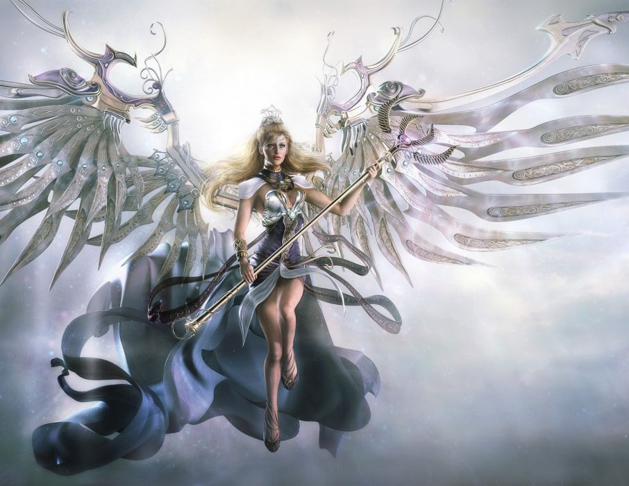 fantasy girl woman beautiful long hair wings angel dress beauty wallpaper