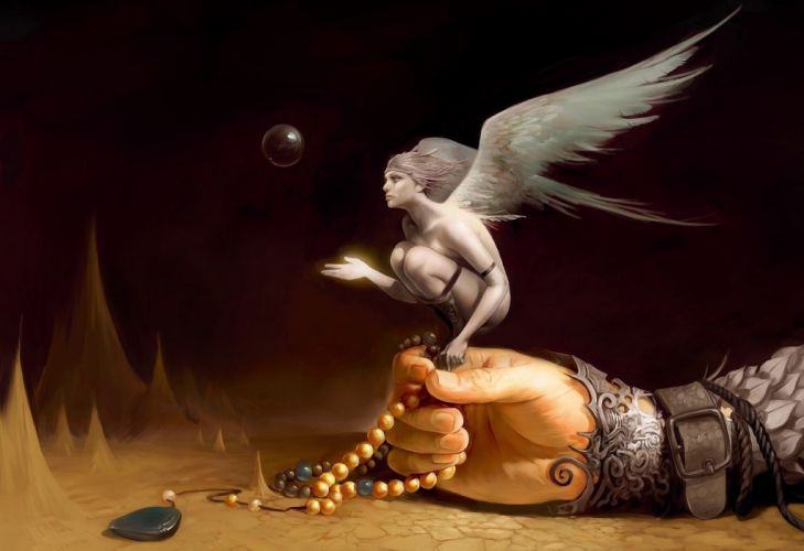 fantasy angel rosary bubble hand wings fairy wallpaper