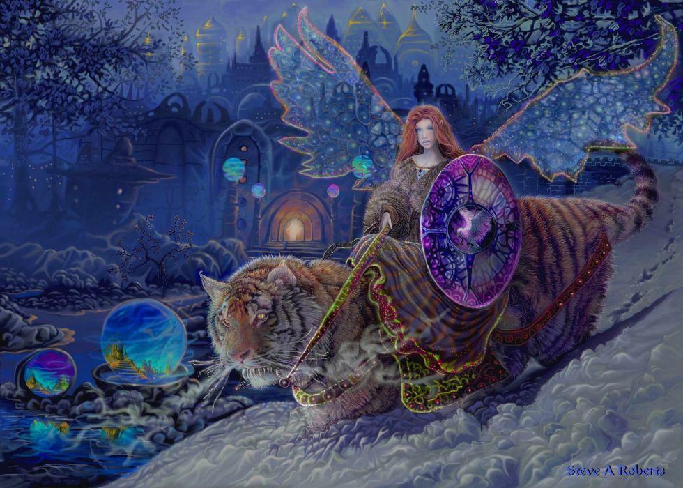tiger fairy angel magical bokeh wallpaper