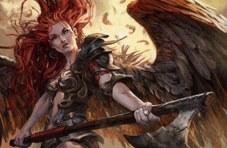 warrior angel fantasy art redhair fantasy girl woman beautiful long hair wings angel dress beauty wallpaper